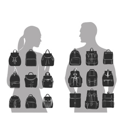 Set of 9 fashionable men and women bags urban vector image