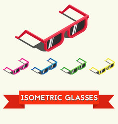 Set of colorful isometric summer sunglasses vector