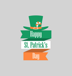 Stpatrick s day ribbon with text and leprechaun vector