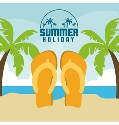 Summer design sandals and palm tree icon vector image