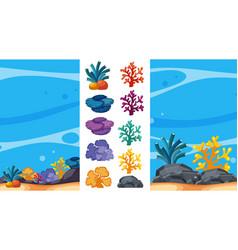 underwater scene with coral reefs vector image vector image