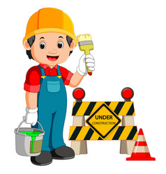 worker with construction sign vector image