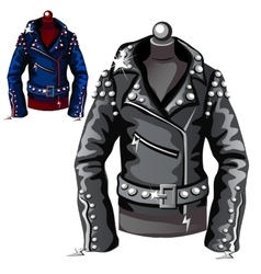 Black leather biker jacket vector