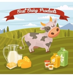 Best dairy products banner with rural landscape vector