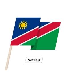 Namibia ribbon waving flag isolated on white vector