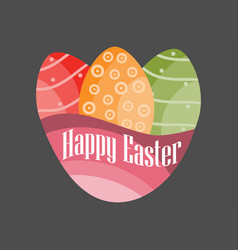 happy easter easter eggs on a black background vector image