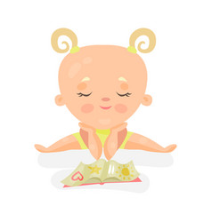 Adorable baby girl sitting and playing with book vector