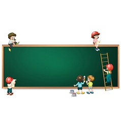 Kids around the empty greenboard vector