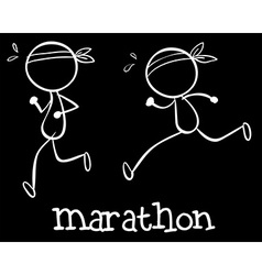 Simple marathon doodle vector image