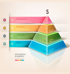 Colored pyramid info graphics vector