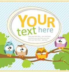 Card with cartoon owls vector