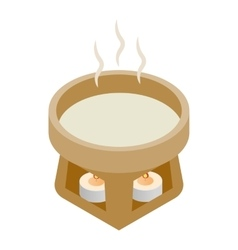 Cup water heated candles 3d isometric icon vector