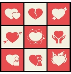 Heart flat icons set for valentines day and vector