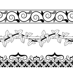 Set of vintage seamless borders victorian and vector