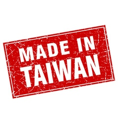 Taiwan red square grunge made in stamp vector