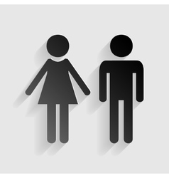 Male and female sign black paper with shadow on vector