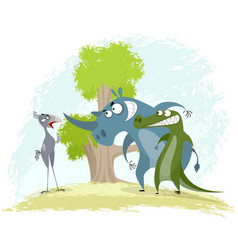 bird secretary rhino and crocodile vector image vector image