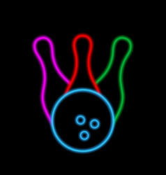 Bowling ball and skittles neon lights vector
