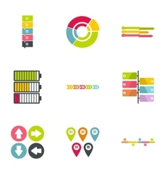 Business analyst icons set flat style vector