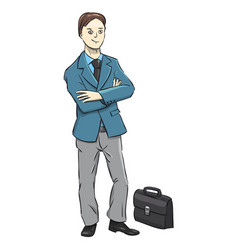 Businessman character on a white background a vector