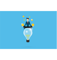 businessman meditating with coins on lightbulb vector image vector image