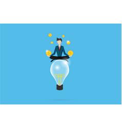 Businessman meditating with coins on lightbulb vector