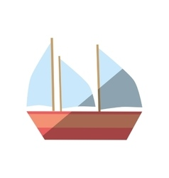 cartoon boat ship vacation beach vector image