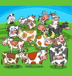Cartoon cows farm animals group vector