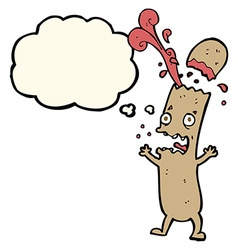 Cartoon undercooked sausage with thought bubble vector