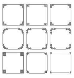 collection of simple square frame with elements vector image