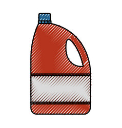 Colored crayon silhouette of bleach clothes bottle vector