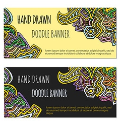 colored hand drawn doodle banner templates vector image vector image