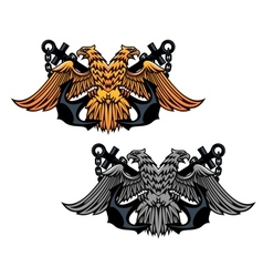 Double head eagle with vintage anchor vector image