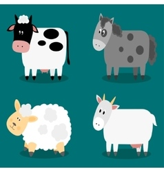 Funny cloven hoof farm animals collection vector