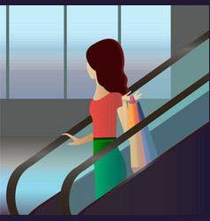 girl with bags going down by escalator in shopping vector image