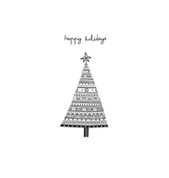Happy holidays ethnic pattern christmas tree card vector