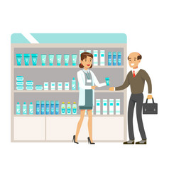 Man teacher in pharmacy choosing and buying drugs vector