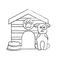 Pet dog sitting with house food vector