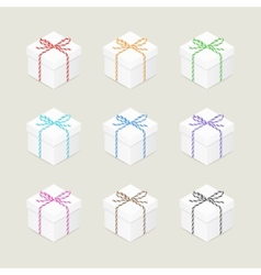 Present boxes with twine bows vector
