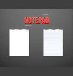 Realistic blank textbook icon notepad template vector