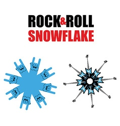 Rock and roll snowflakes Rock hand sign in form of vector image vector image
