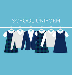 school or college uniforms on hangers in line vector image vector image