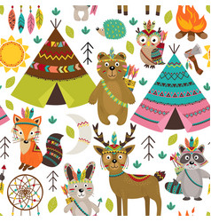Seamless pattern with tribal animals and elements vector