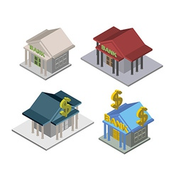 set bank Isometric Building vector image vector image