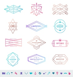 Set of colored hipster line emblems and signs vector