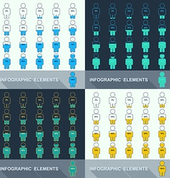 Set segmented charts in the form of people vector image
