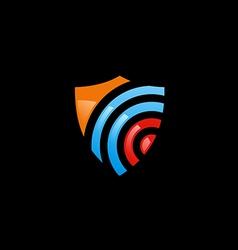 Shield radar protection technology logo vector