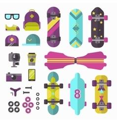Skateboard icons set vector image vector image