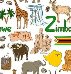 Sketch zimbabwe seamless pattern vector
