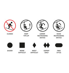Ski lift manuals trail difficulty levels signs vector